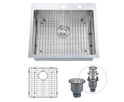 Kitchen Sink 25 X 22 Sinogy 25x22 inch h2522 g overmount stainless steel handcrafted sinogy 25x22 inch h2522 g overmount stainless steel handcrafted kitchen sink with bottom grid 16 ga single bowl with 2 faucet holes workwithnaturefo