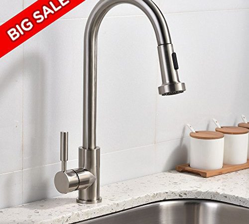 Best Commercial Stainless Steel Single Handle Pull Out Sprayer Kitchen  Faucet, Pull Down Kitchen Faucets Brushed Nickel | Stainless Steel Kitchen  Sink Shop